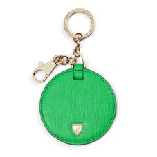 Disc Keyring in Bright Green Saffiano