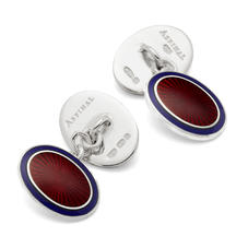 Sterling Silver & Enamel Faberge Style Cufflinks in Navy & Red