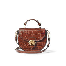 Equestrian Portobello Bag in Deep Shine Brown Soft Croc