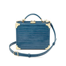 Mini Trunk Clutch in Deep Shine Topaz Small Croc