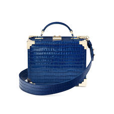 Mini Trunk Clutch in Deep Shine Blue Small Croc