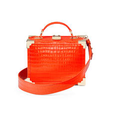 Mini Trunk Clutch in Deep Shine Orange Small Croc