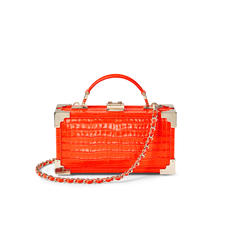 Trinket Box in Deep Shine Orange Small Croc