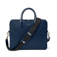 Slim Mount Street Bag in Navy Saffiano