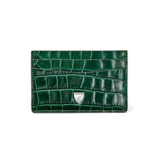 Slim Credit Card Holder in Deep Shine British Racing Green Small Croc