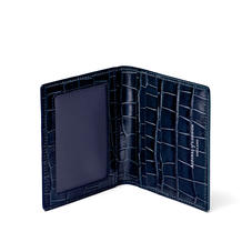 ID & Travel Card Holder in Deep Shine Navy Small Croc
