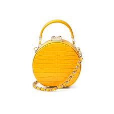 Micro Hat Box in Deep Shine Bright Mustard Small Croc