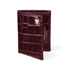 Credit Card Wallet with Notes Pocket in Deep Shine Amazon Brown Croc