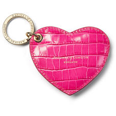 Heart Key Ring in Deep Shine Penelope Pink Small Croc