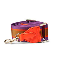 Webbing Bag Strap in Purple, Orange & Camel Stripes