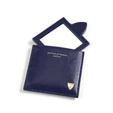 Compact Mirror in Midnight Blue Silk Lizard