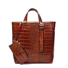 Editor's 'A' Tote in Deep Shine Brown Soft Croc