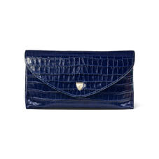Sunglasses Case in Deep Shine Midnight Blue Small Croc