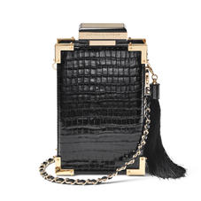 Sabine Portrait Trunk Clutch in Deep Shine Black Small Croc
