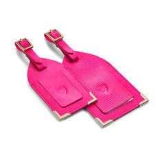 Set of 2 Luggage Tags in Penelope Pink Silk Lizard