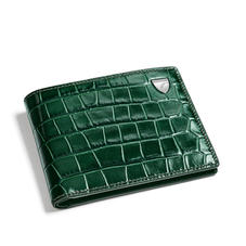 6 Card Single Billfold Wallet in Deep Shine British Racing Green Small Croc