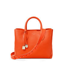 Midi London Tote in Orange Small Grain Pebble