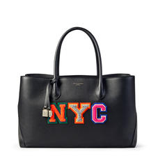London Tote in Black Pebble with NYC Embroidered Letters