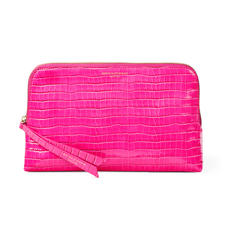 Large Essential Cosmetic Case in Deep Shine Penelope Pink Small Croc