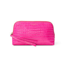 Small Essential Cosmetic Case in Deep Shine Penelope Pink Small Croc