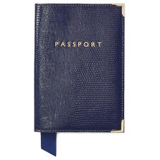 Passport Cover in Midnight Blue Silk Lizard