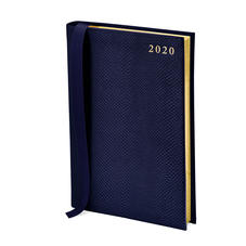 A5 Day to Page Leather Diary in Midnight Blue Lizard