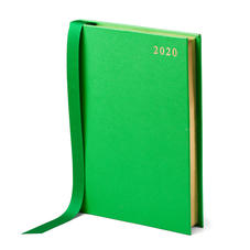 A5 Day to Page Leather Diary in Bright Green Saffiano