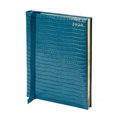 Quarto A4 Day to Page Leather Diary in Deep Shine Topaz Small Croc