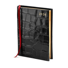 A6 Day to Page Leather Diary in Deep Shine Black Croc