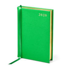 A6 Day to Page Leather Diary in Bright Green Saffiano