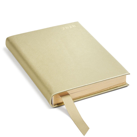 A5 Day to Page Leather Diary in Gold Saffiano from Aspinal of London