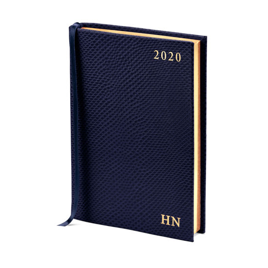 A6 Day to Page Leather Diary in Midnight Blue Lizard from Aspinal of London