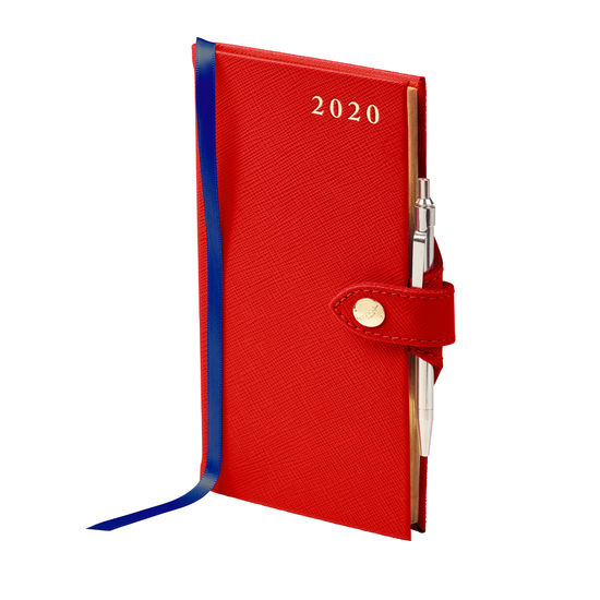 Slim Pocket Leather Diary with Pen in Scarlet Saffiano from Aspinal of London