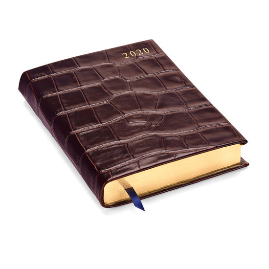 A6 Day to Page Leather Diary in Deep Shine Amazon Brown Croc from Aspinal of London