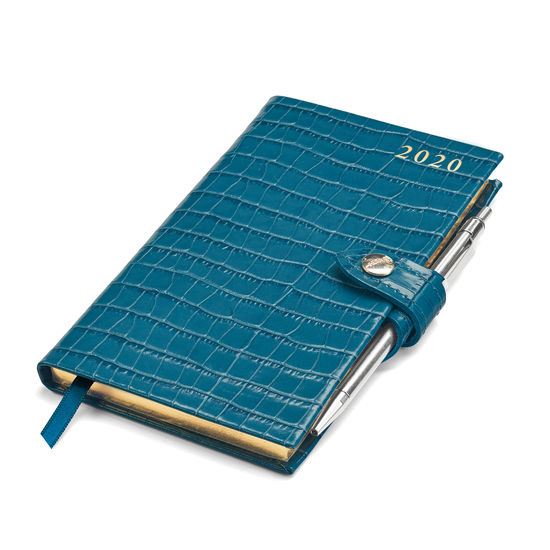 Slim Pocket Leather Diary with Pen in Deep Shine Topaz Small Croc from Aspinal of London
