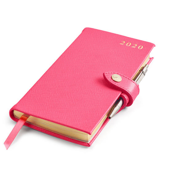 Slim Pocket Leather Diary with Pen in Bright Pink Saffiano from Aspinal of London