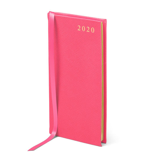 Slim Pocket Leather Diary in Bright Pink Saffiano from Aspinal of London