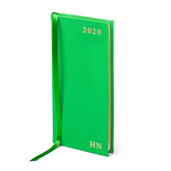 Slim Pocket Leather Diary in Bright Green Saffiano from Aspinal of London