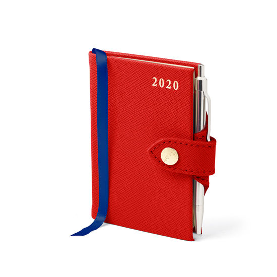 Mini Pocket Leather Diary with Pen in Scarlet Saffiano from Aspinal of London