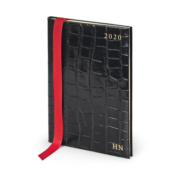 A5 Week to View Leather Diary in Deep Shine Black Croc from Aspinal of London
