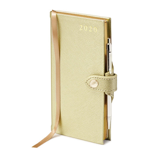 Slim Pocket Leather Diary with Pen in Gold Saffiano from Aspinal of London