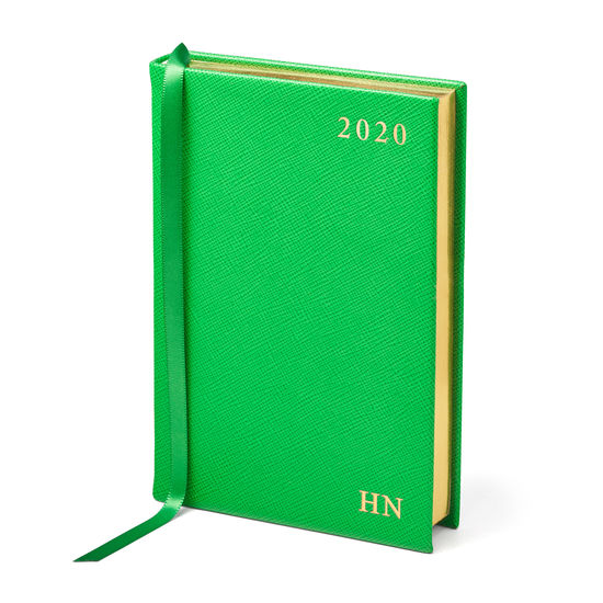A6 Day to Page Leather Diary in Bright Green Saffiano from Aspinal of London