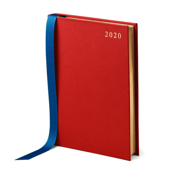 A5 Day to Page Leather Diary in Scarlet Saffiano from Aspinal of London