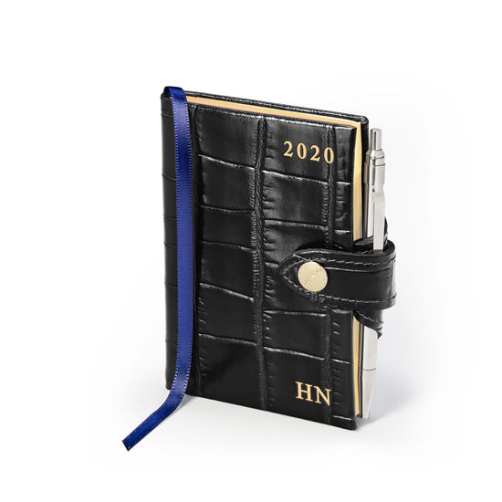 Mini Pocket Leather Diary with Pen in Deep Shine Black Croc from Aspinal of London