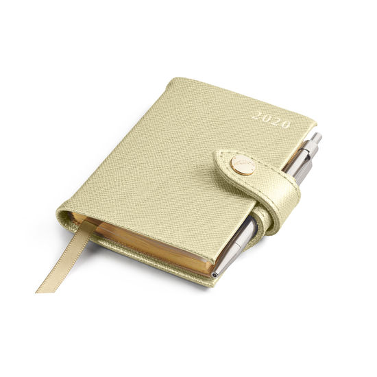 Mini Pocket Leather Diary with Pen in Gold Saffiano from Aspinal of London