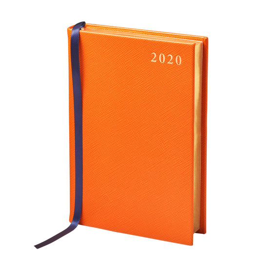 A6 Day to Page Leather Diary in Bright Orange Saffiano from Aspinal of London