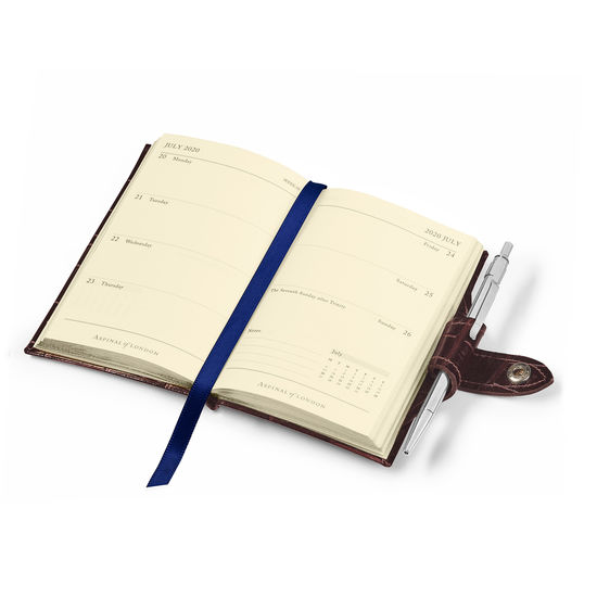 Mini Pocket Leather Diary with Pen in Bright Blue Saffiano from Aspinal of London