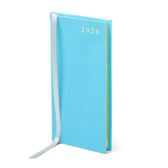 Slim Pocket Leather Diary in Bright Blue Saffiano from Aspinal of London