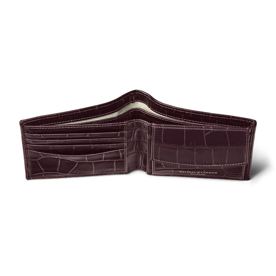 Billfold Coin Wallet in Deep Shine Amazon Brown Croc from Aspinal of London