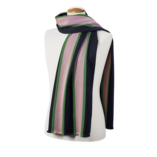 College Stripes Merino Wool Scarf in Midnight Blue & Pink from Aspinal of London